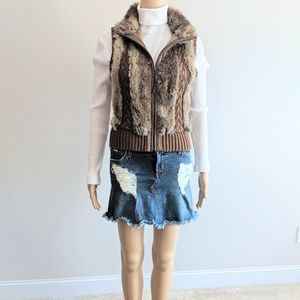 BCBG wool blend sweater vest with rabbit fur trim